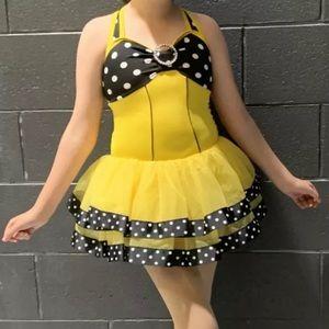 Weissman Intermediate Child Jazz Tap Dance Costume Yellow/Black/White Polkadots